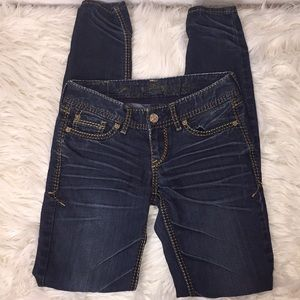 Express slightly distressed skinny jeans. Size 00.